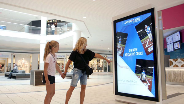 Interact-able digital screen in a mall