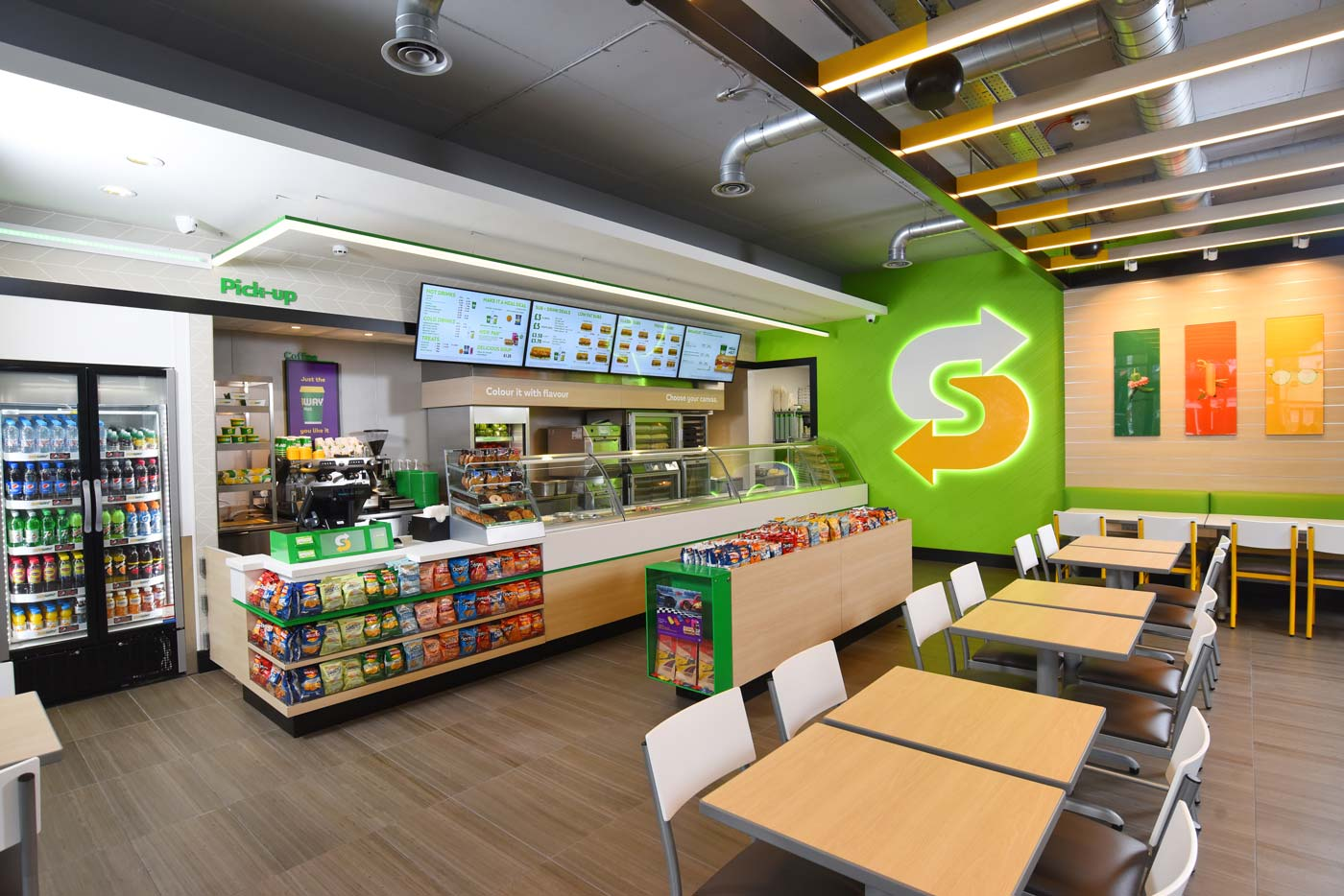 Subway restaurant with digital signage
